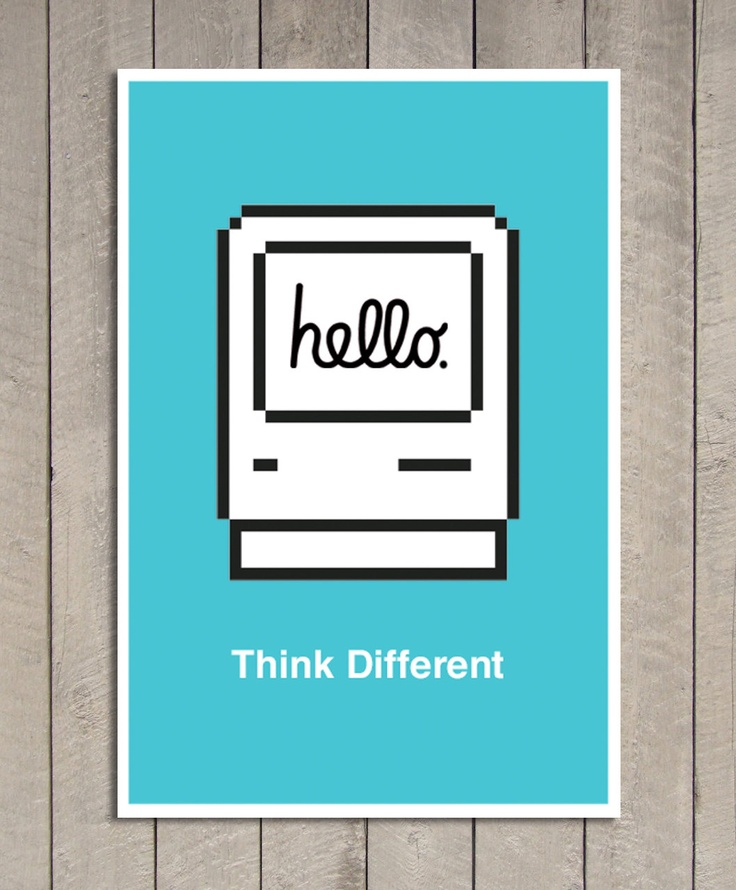 Hello Apple Poster  - Pick color -  24.6 in x 16.4 in - MEDIUM. $25.00, via Etsy.