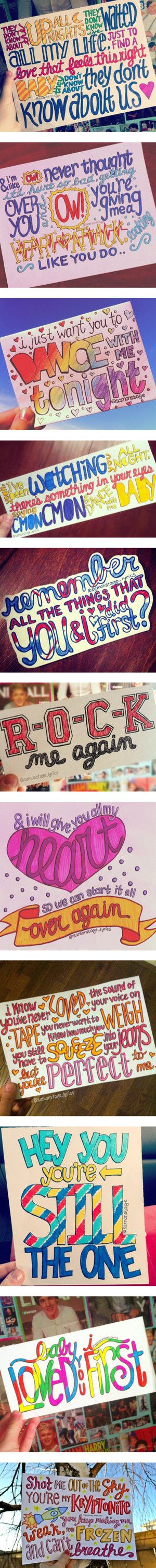 """one direction lyrics :)""I wanna learn how to draw like that"