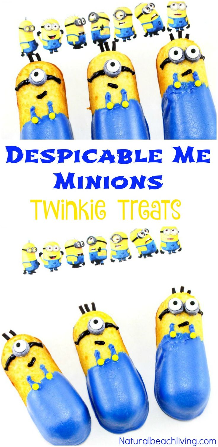 How to Make Despicable Me Minions Twinkie Treats, Twinkie Minions, Minion Twinkie Cupcakes perfect for a party treat. Easy to make Party Food, YUM!