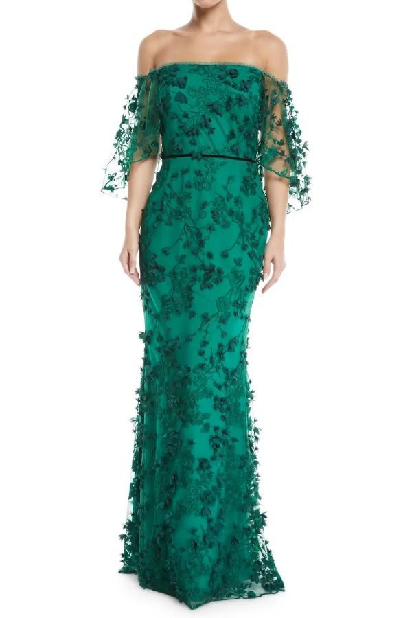 7fac4538 Marchesa Notte N24G0658 Green Embroidered Off the Shoulder Gown | Poshare