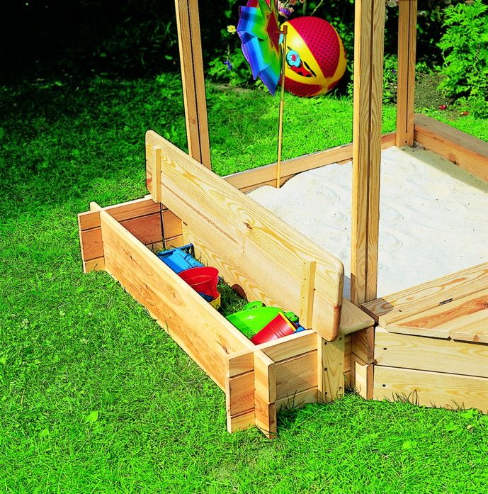 Good Sandkasten Holz PROMEX Peter Pan Dach Sitzbank Spielzeugkiste Sandkiste Kaufen Holz Haus