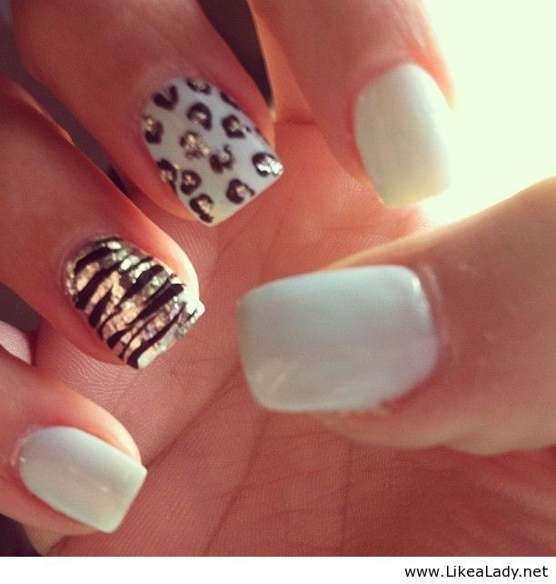 white nails with accents