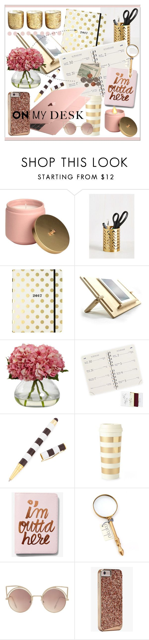"""What's On My Desk?"" by calamity-jane-always ❤ liked on Polyvore featuring interior, interiors, interior design, home, home decor, interior decorating, Kate Spade, Henri Bendel, Express and NKUKU"
