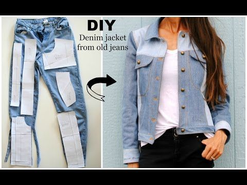 How to: Upcycled denim jacket from old jeans - YouTube