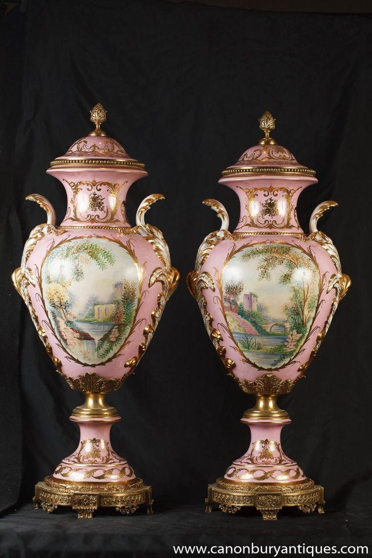 Photo of Pair German Dresden Porcelain Pink Angel Vases Urns