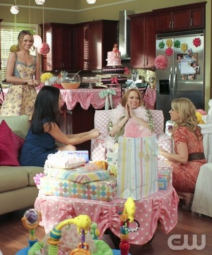 quinn, millie, and lauren at haley's baby shower.