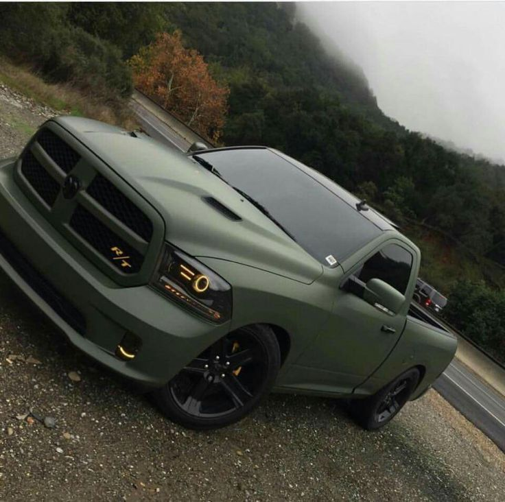 Matte Olive Green Dodge Ram Pickup Truck