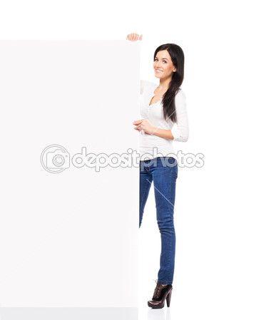 mujer sosteniendo una pancarta en blanco — Imagen de stock #46015643