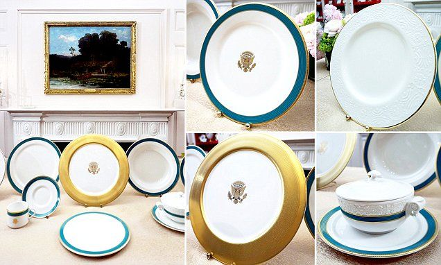 FLOTUS goes bold with $367,000 Hawaii-inspired official Obama White House china accented in 'Kailua Blue'