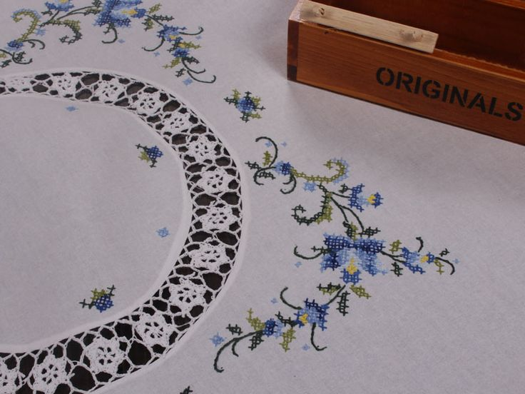 Cotton cross stitch blue embroidery with Crochet Lace tablecloths