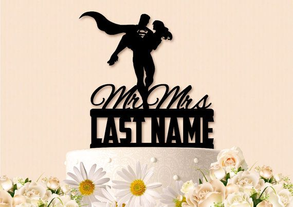 Mr and Mrs Superman With Last Name Wedding Cake by ChrissCrosses