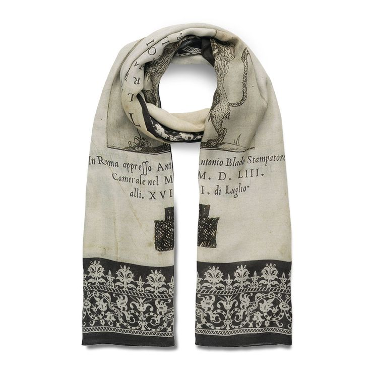"""Our scarf adapts the frontispiece of """"The Life of Michelangelo"""" in The Met collection. This illustrated book was written by Ascanio Condivi (Italian, 1525–74). A painter in his own right, Condivi is perhaps best known as Michelangelo's biographer."""