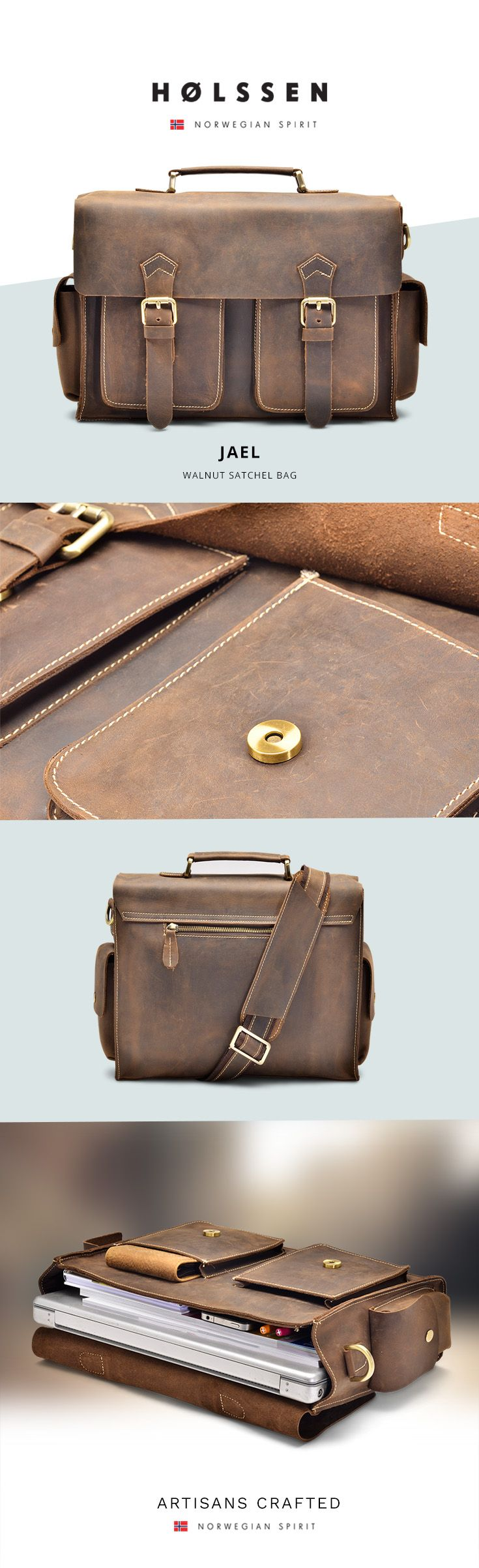 Leather satchel briefcase messenger bag perfect to carry everything you need.