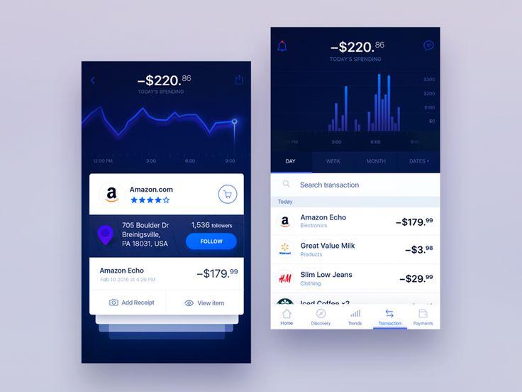 Dark Blue bank UI  by Gleb Kuznetsov #Design Popular #Dribbble #shots