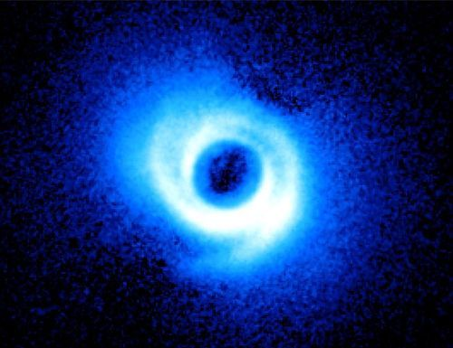 Spiral Star --14-Billion-Miles Wide  The discovery of a star with spiral arms in 2011 startled researchers using the Subaru telescope in Hawaii. The star, SAO 206462, is more than four hundred light years from Earth in the constellation Lupus, the wolf. Two spiral arms, acquired by the Subaru Telescope and its HiCIAO instrument, emerge from the gas-rich disk around SAO 206462.