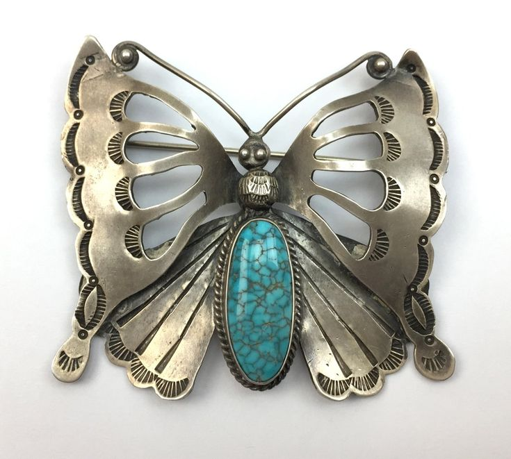 Navajo Number 8 Turquoise and Silver Butterfly Pin