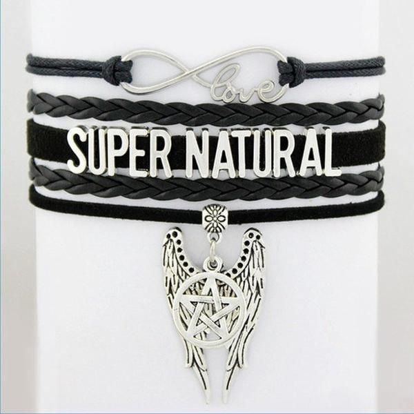 $14.00 - Are you a Supernatural Fan? Then this Supernatural Angel Wings Pentagram Bracelet is for you! Not sold in stores. Order Today and Get FREE SHIPPING!
