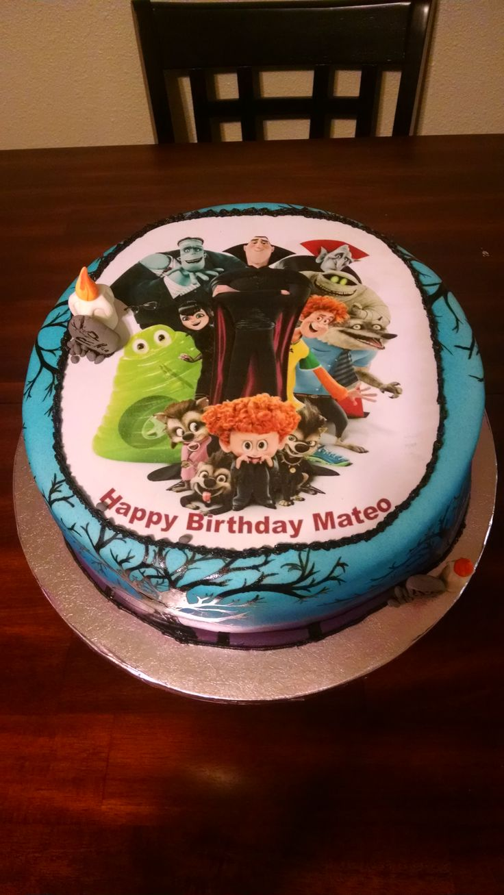 Hotel Transylvania Cake with hand painted trees.