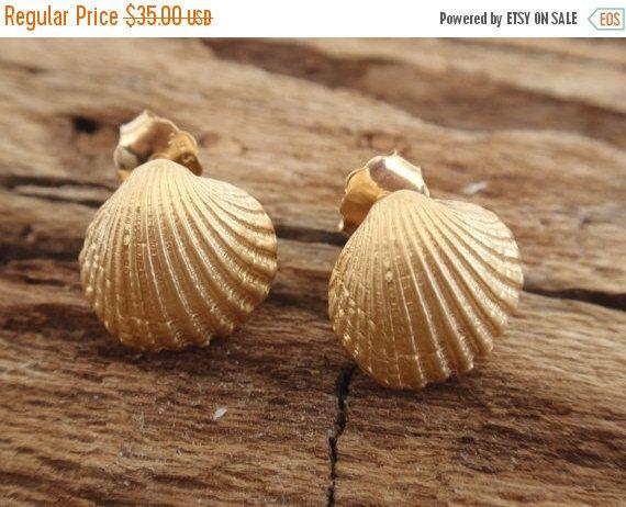 SALE 10% OFF seashell gold stud earrings bridesmaid by preciousjd