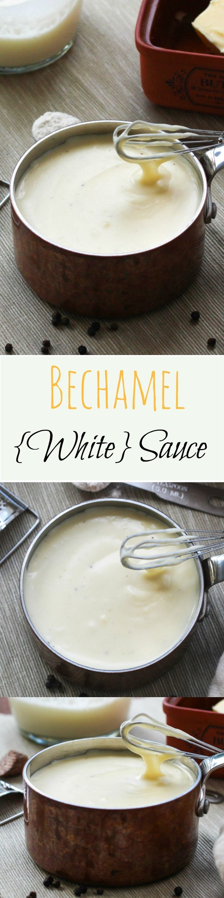 BECHAMEL SAUCE  (also known as WHITE  SAUCE)  -   simple to make, incredibly versatile & freezes brilliantly  ~  60g butter...1/3 c. plain flour...2 c. milk...125g cheddar cheese, grated...3 T. grated Parmesan cheese...pinch nutmeg... salt & pepper