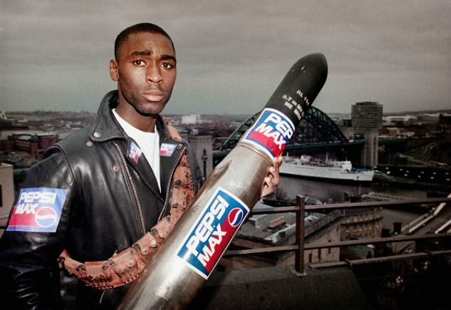 Andy Cole still for Pepsi Max, but now also with a tank shell