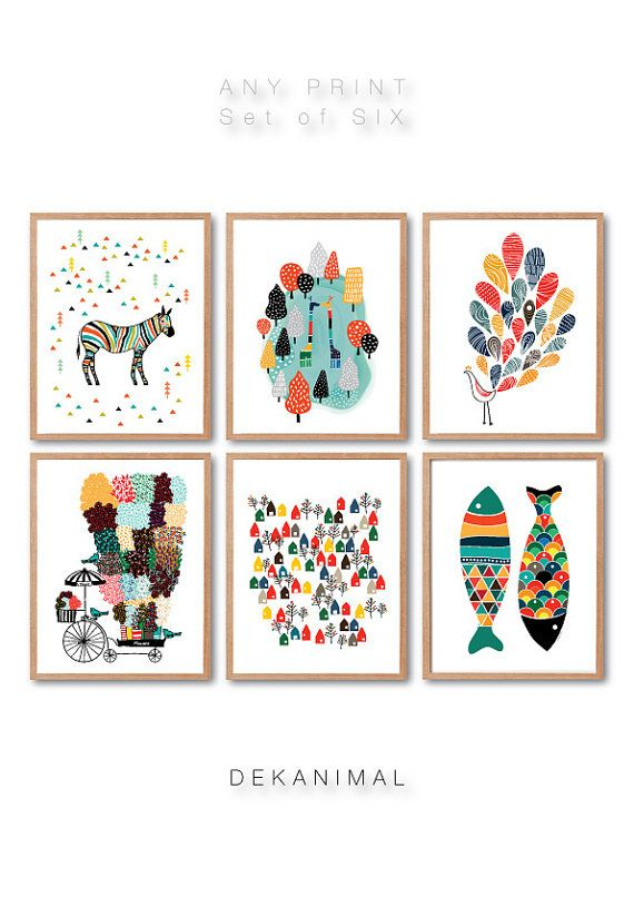 Cualquier 6 impresiones, impresión de conjunto de 6, jirafas, pavo real, peces imprimir, encantadora ciudad impresión, flor vendedor, Ilustración Animal