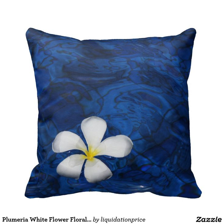 Plumeria White Flower Floral Patterned Pillow