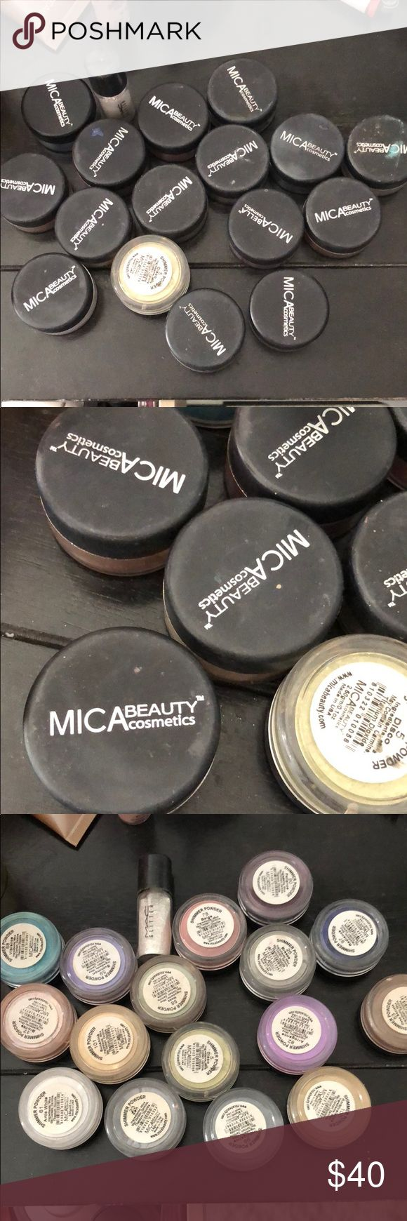 """Mica beauty loose eyeshadow bundle Loose glitter shadows by mica beauty. Never used. All different colors! Beautiful glitter colors! One mac glitter eyeshadow""""goldrift"""". Selling as a bundle Makeup Eyeshadow"""