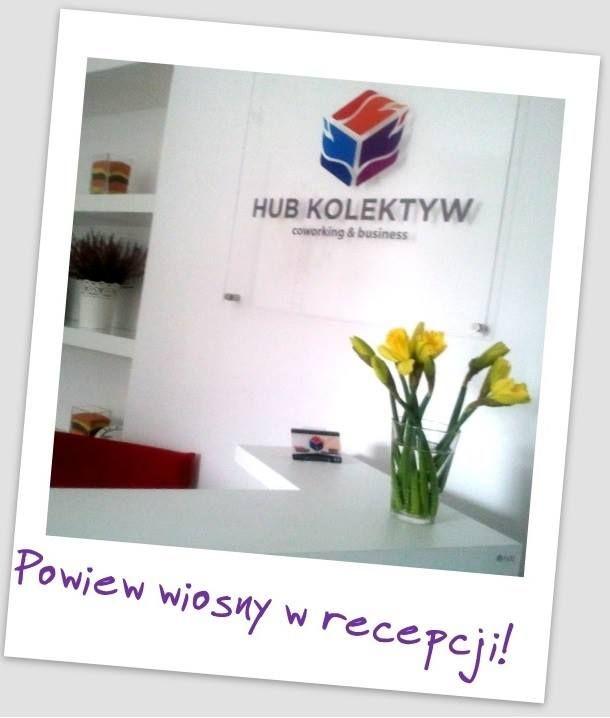 Wiosenne kwiaty witają gości w recepcji HUB Kolektyw / Spring flowers greet guests at the reception of HUB Collective