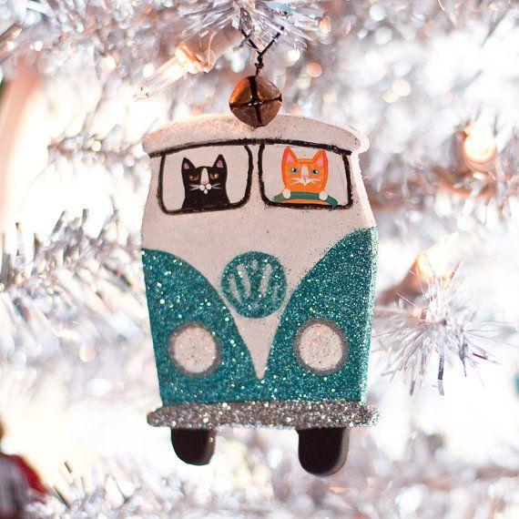 Christmas Volkswagen Clay Cat Folk Art Ornament by KilkennycatArt, via Etsy.