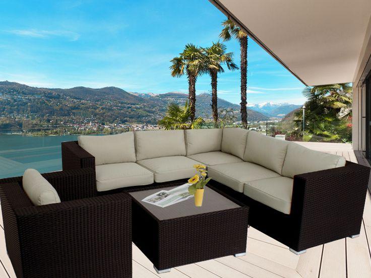 Brown Endora Corner Outdoor Wicker Furniture Lounge