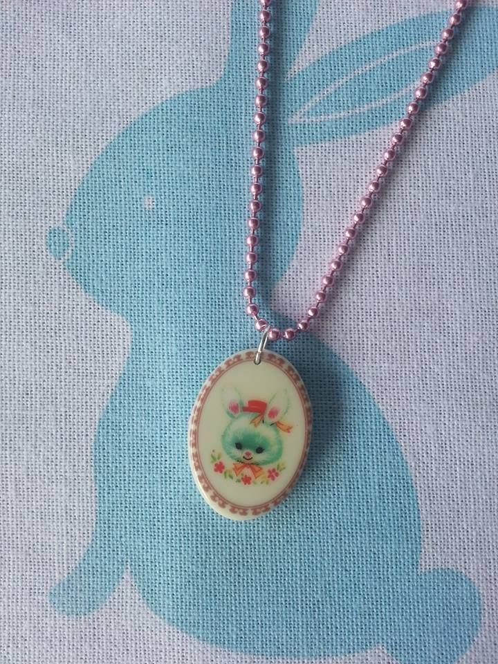 Vintage bunny necklace! Under $10 Market Night opens at 9pm, on Tuesday 8th April, 2014
