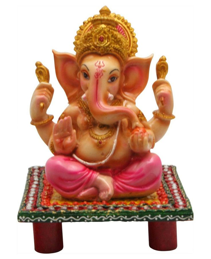 Ganesh is the wealth of wisdom, the remover of obstacles whose large ears are always open to the pleas of his followers. He is depicted here seated on a colorful pedestal, his hand raised in a gesture of reassurance and protection. Made of resin with a
