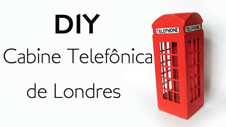 DIY: Como Fazer uma Cabine Telefônica de Londres para Decoração - Artesanato com Palitos de Picolé e Fósforo  - London Cabin Telephone Red popsicle stickcraft