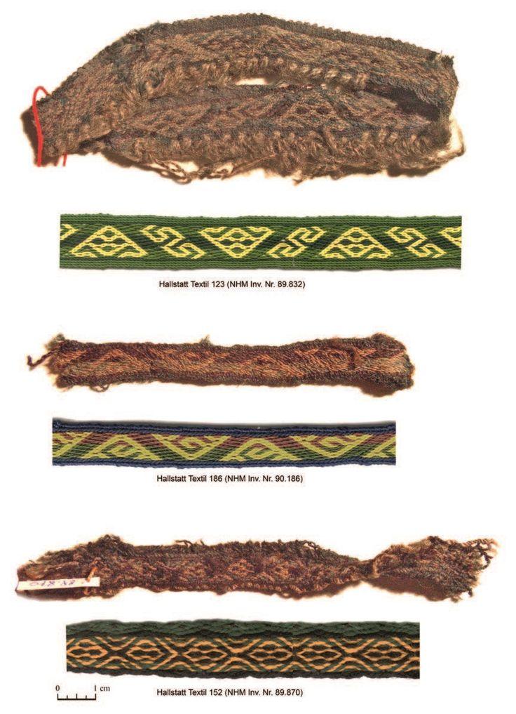Complexe Brettchengewebe aus Hallstatt mit Rekonstruktionen der Muster, Ältere Eisenzeit