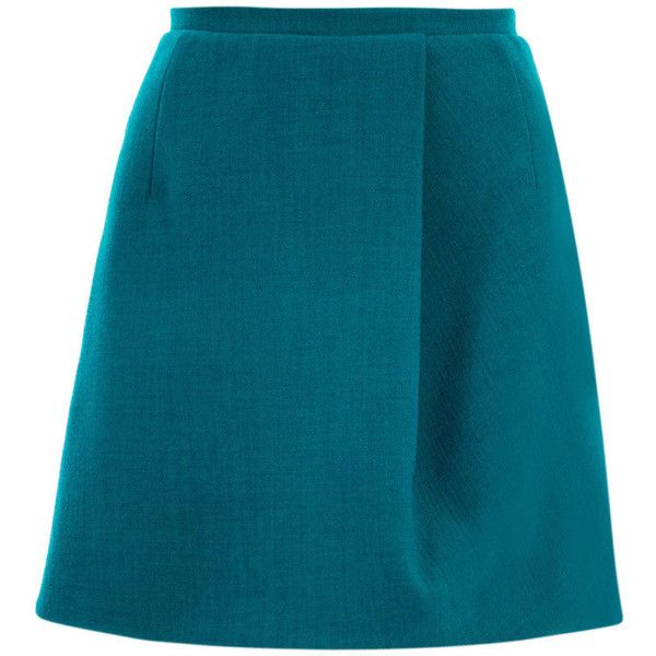 Carven Turquoise Wool Crepe Skirt (2 440 ZAR) ❤ liked on Polyvore featuring skirts, blue, carven skirt, wool skirt, blue wool skirt, woolen skirts and crepe skirt