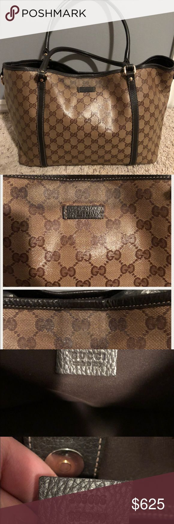 Authentic Gucci Crystal Monogram Tote Medium size tote. Flaws are shown in the picture; darkened leather on the top where the magnetic closure button is front and back of purse. Cause is from rubbing on arm's sleeve when carrying. Comes with dustbag, sample leather of bag, and authenticity card. NO trades pls. Gucci Bags Totes