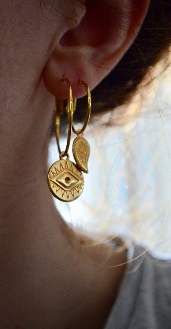 Evil eye coin charm gold hoop earrings by Polkadotjewelry on Etsy