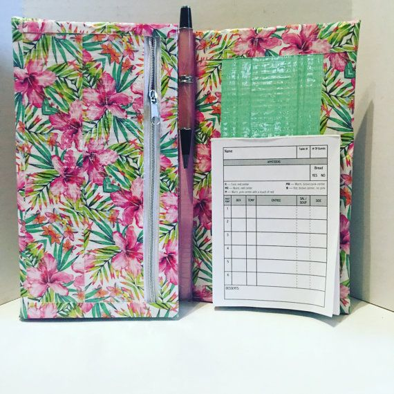 As a waitress being organized is the most important part of having a smooth shift. Server books are the main tool we use to keep it all together. Now is the chance to have a server book that fits your personality! Choose a design that you cant live without or message me to custom order your own design! Books are constructed by hand not simply a cover for an old book so the customization is unlimited! Server books are constructed by hand designed just for you. They are 9X5 and decorated with…