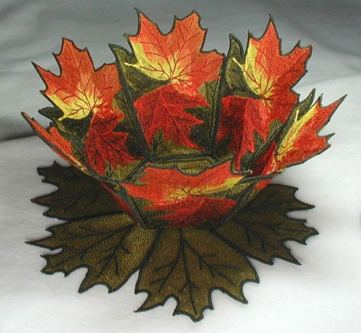 Bfc machine embroidery autumn leaves lace bowl doily