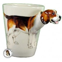 Beagle Hound Hand Painted Sculpted Ceramic Dog Mug www.aloveofdogs.com