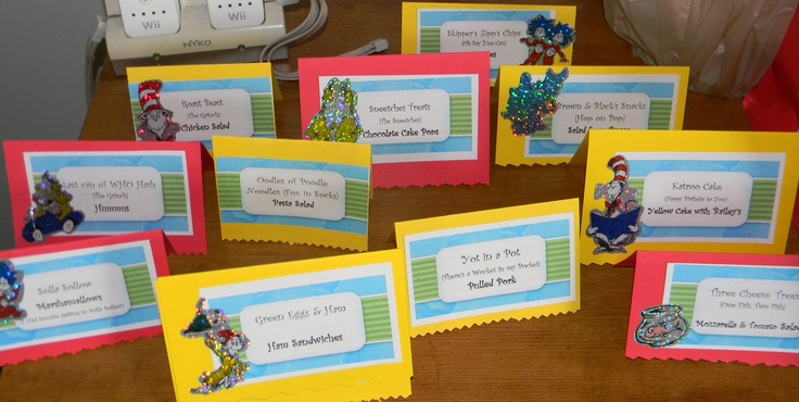 Food place cards with a Seuss name, book and food item.