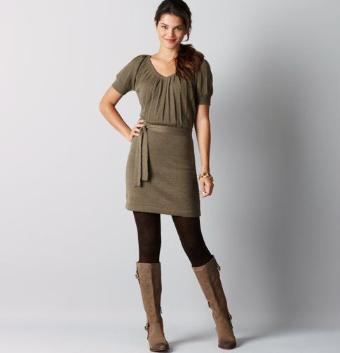 Ann Taylor Loft Soft Merino Wool Pleated Sweater Dress With Boots