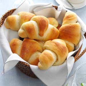 Make-Ahead Butterhorns Recipe -Mom loved to make these lightly sweet, golden rolls. They're beautiful and impressive to serve and have a wonderful, homemade taste that makes them so memorable. —Bernice Morris, Marshfield, Missouri
