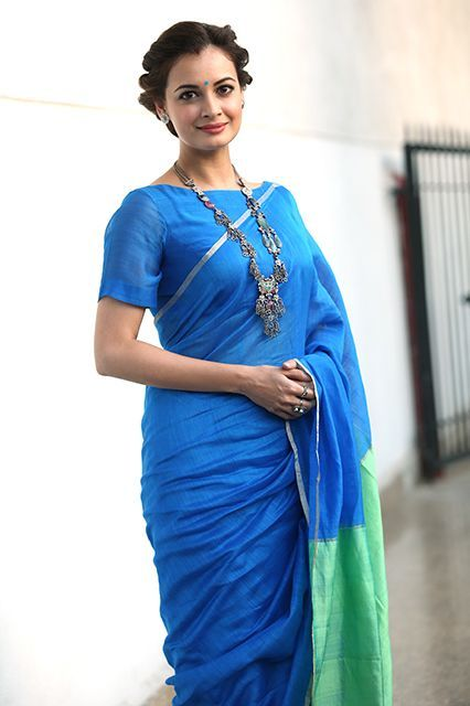 Actress Dia Mirza in a colorblocked sari. #refinery29 http://www.refinery29.com/sari-outfits#slide-4