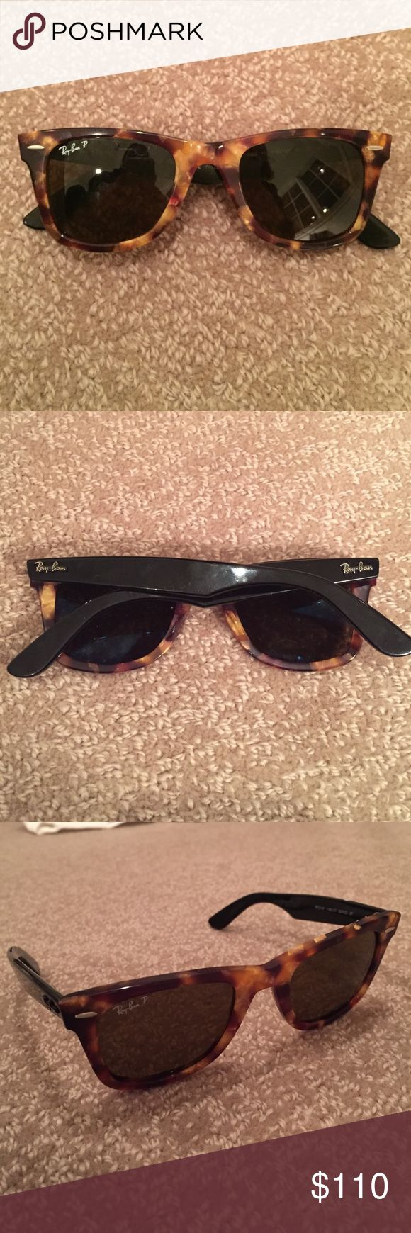 ray ban polarized tortoise shell sunglasses  polarized tortoise shell ray ban wayfarers rarely worn ray ban wayfarers. polarized with green