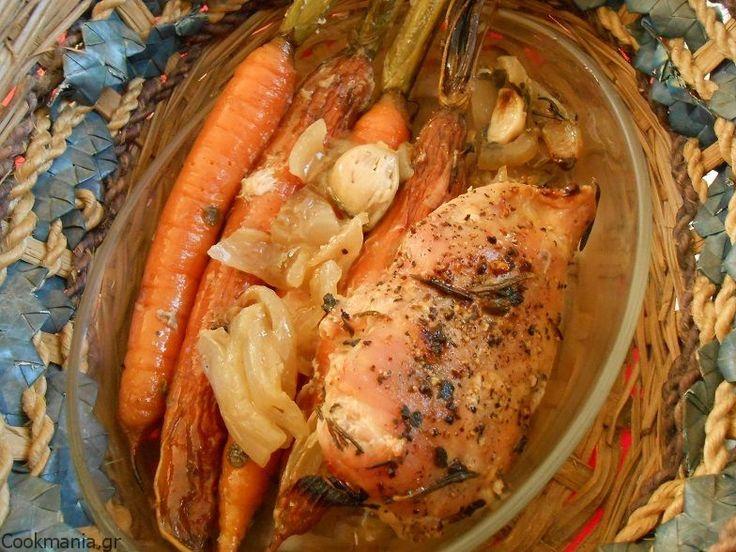 Κοτόπουλο φούρνου με ολόκληρα καρότα και μυρωδικά - http://www.zannetcooks.com/recipe/15878/