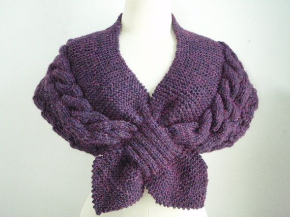 Knitting Cape in Deep Purple by Namaoy on Etsy, $60.00