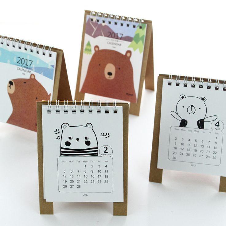 2017 Ano Calendário Urso Dos Desenhos Animados do Kawaii 12.5*9.5 cm Criativo Calendários De Papel Em Pé de Mesa Organizador Planejador Agenda Livro Novo