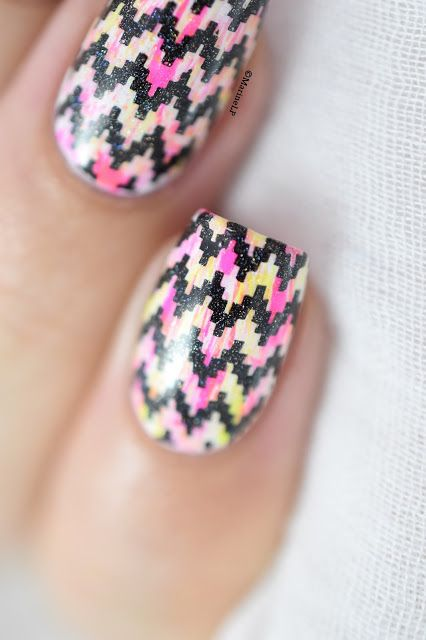 Marine Loves Polish - Neon dry brush & chevrons nail art tutorial - BP-L018 - Peggy Sage Neon Pink & Yellow